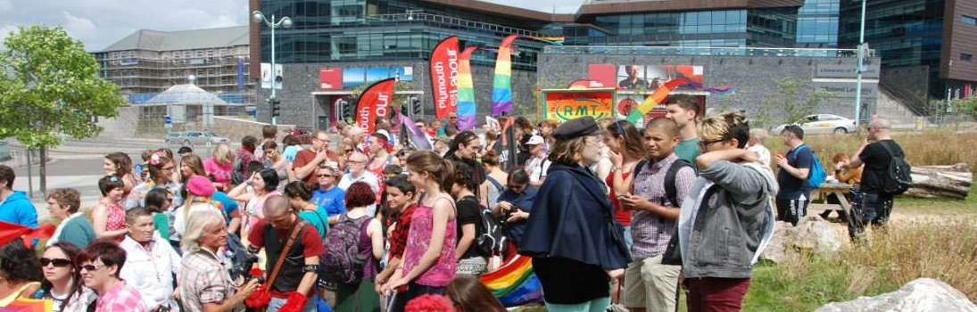 Plymouth Pride Parade – Gathering at the Jigsaw Garden
