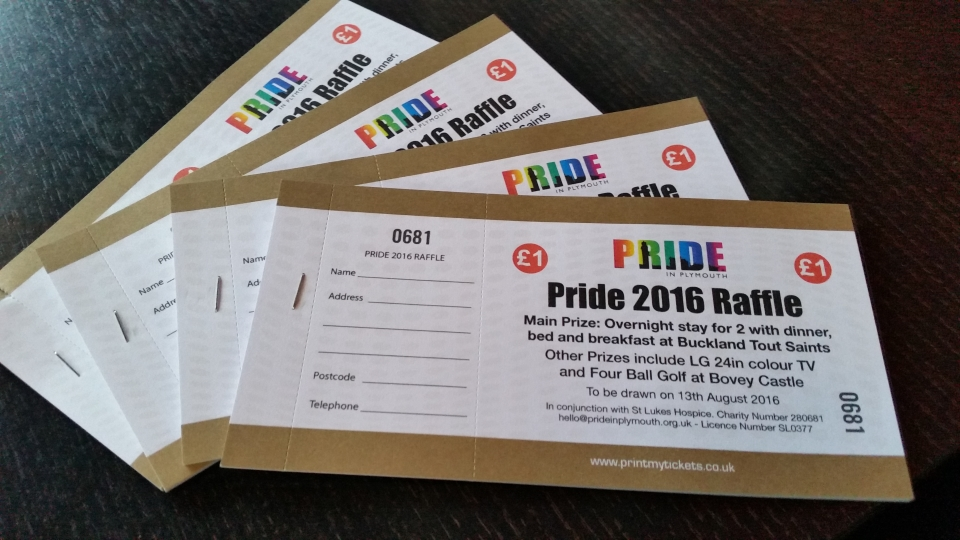 Pride in Plymouth Raffle Tickets 2016