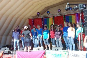 Spectrum Choir on Stage Plymouth Pride 2015