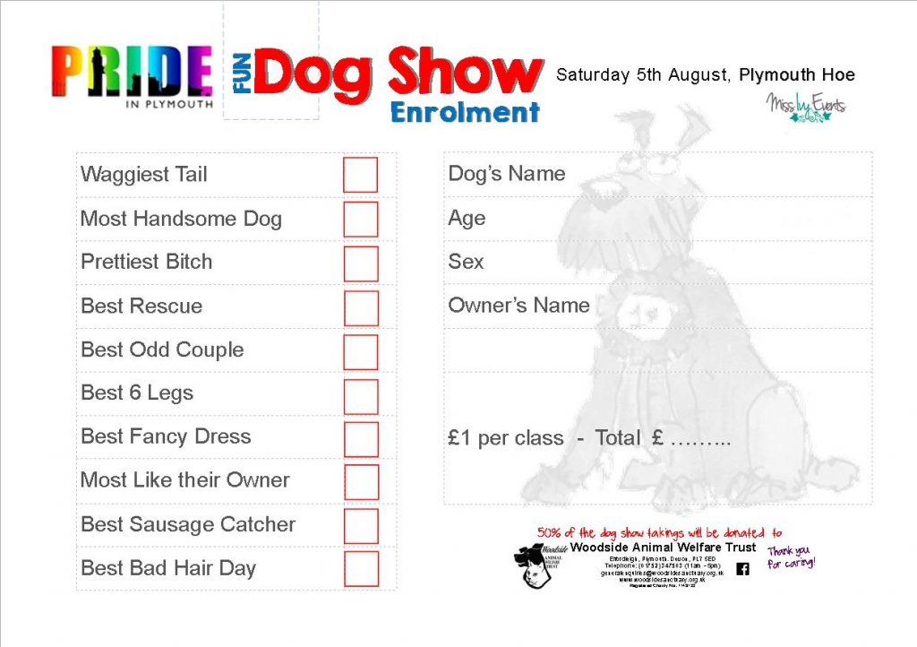Sample Pride Dog Show entry form