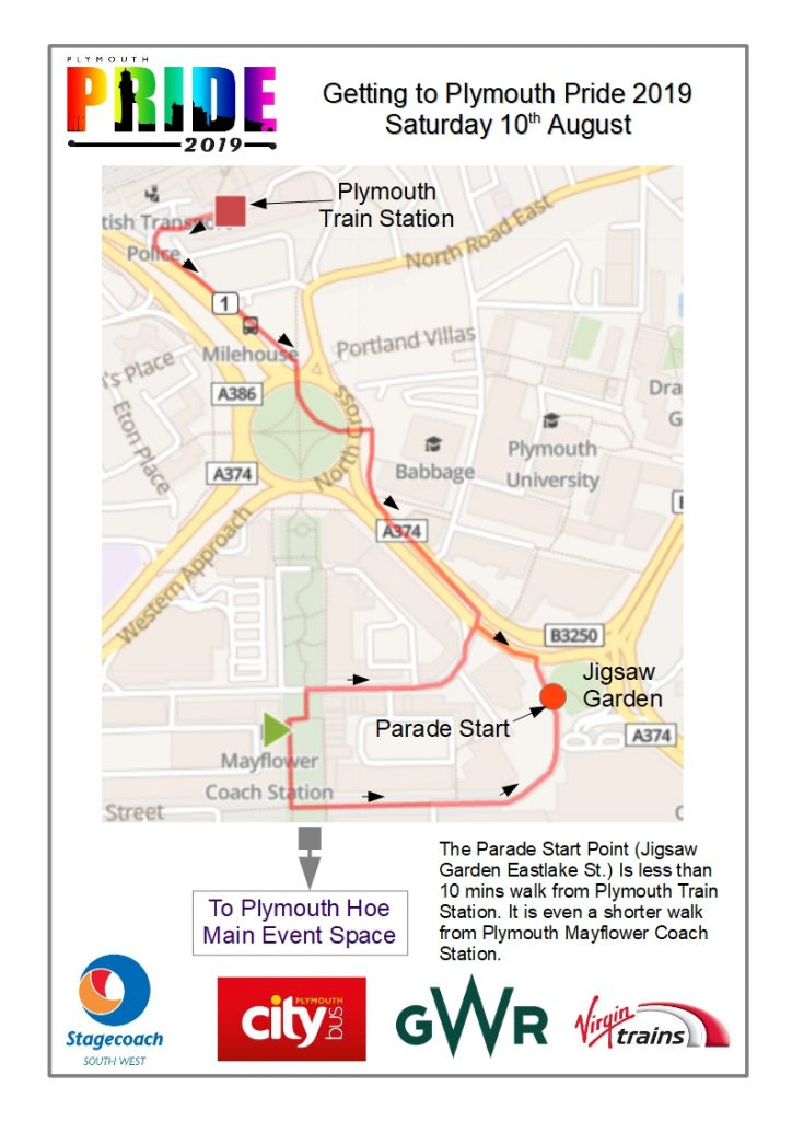 Map showing routes to Plymouth Pride
