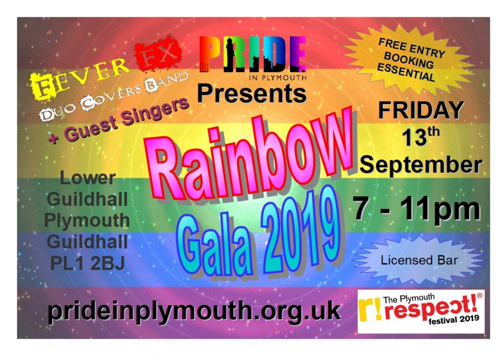 Plymouth Pride Rainbow Gala Friday 13th September .